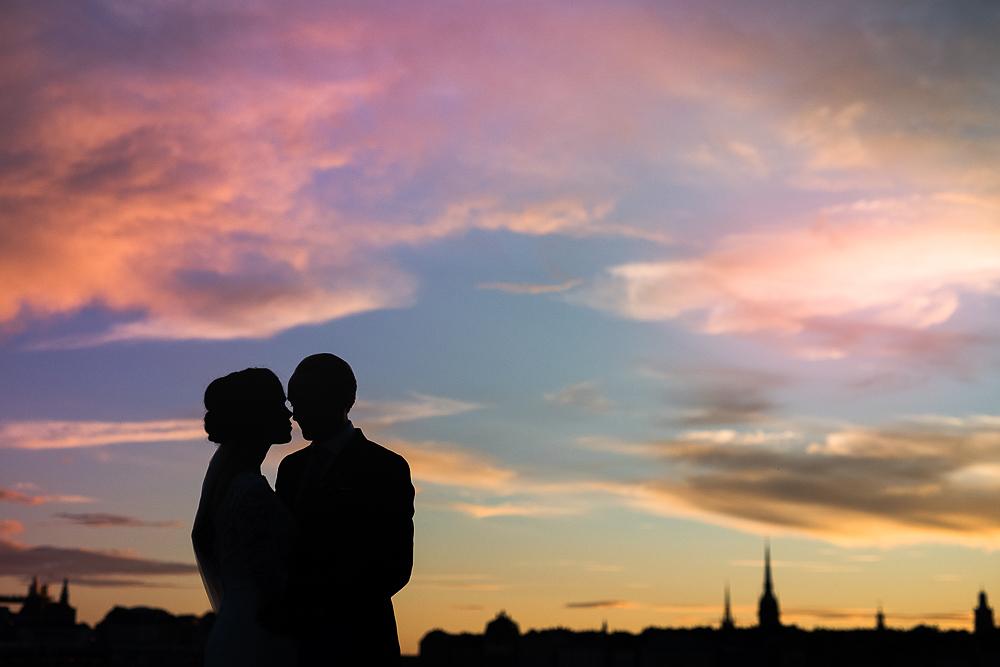 Solnedgång med Stockholm som bakgrund